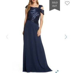 New with Tags Tadashi Shoji Navy Off-Shoulder Sequin Gown
